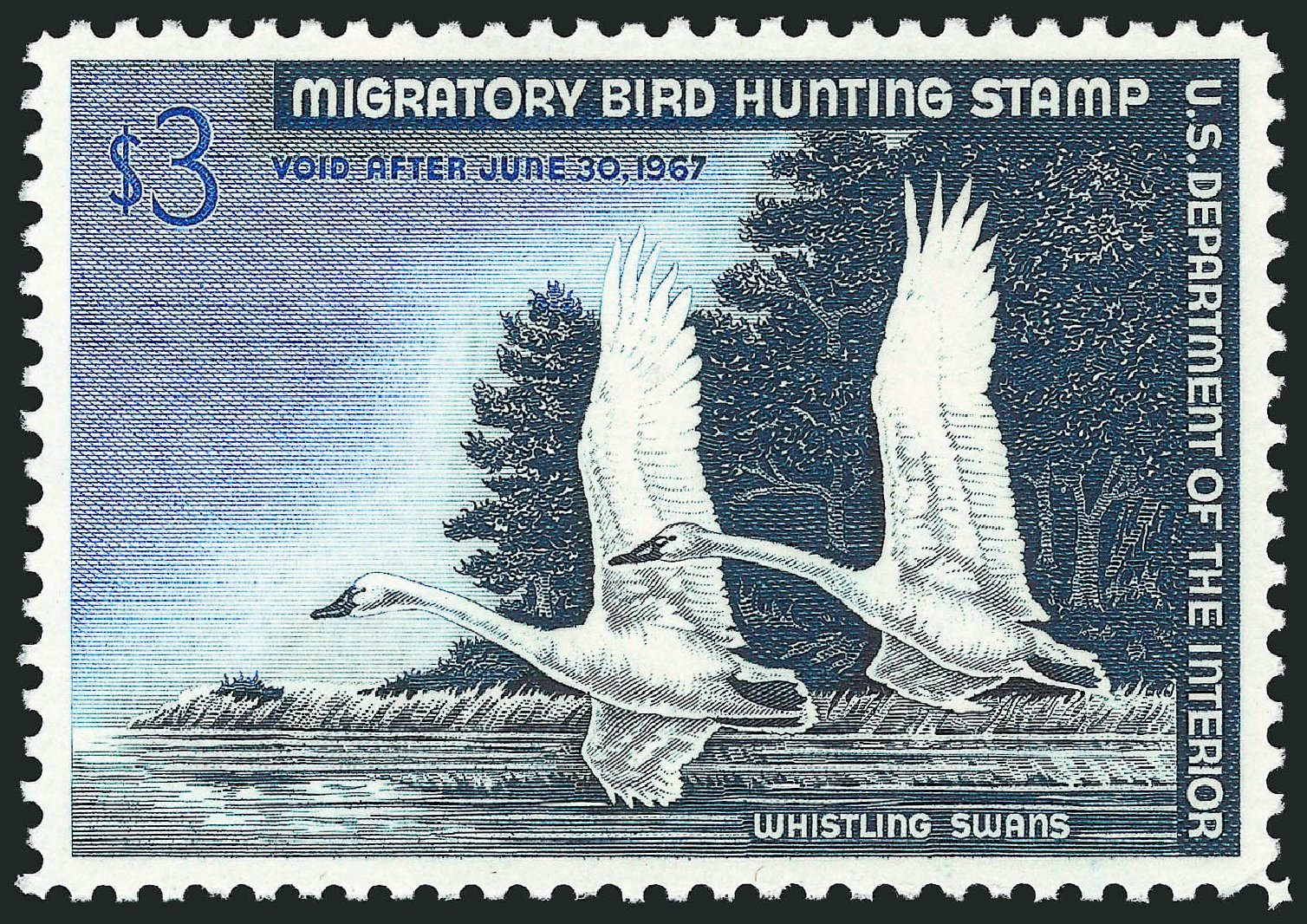 Costs of US Stamp Scott Cat. RW33: 1966 US$3.00 Federal Duck Hunting. Robert Siegel Auction Galleries, Dec 2011, Sale 1017, Lot 1016