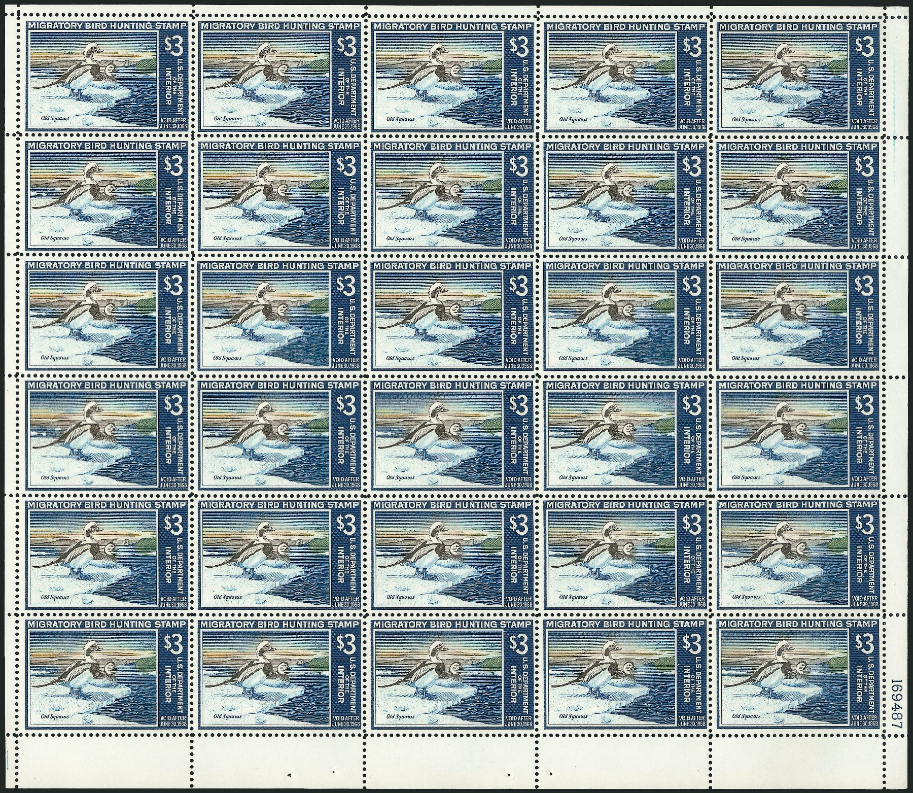 Values of US Stamps Scott Catalog #RW34 - US$3.00 1967 Federal Duck Hunting. Robert Siegel Auction Galleries, Feb 2015, Sale 1092, Lot 1547