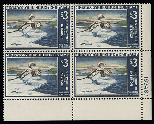 US Stamps Value Scott Cat. RW34: 1967 US$3.00 Federal Duck Hunting. Spink Shreves Galleries, Aug 2013, Sale 144, Lot 447