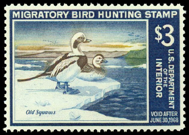 US Stamp Values Scott # RW34 - US$3.00 1967 Federal Duck Hunting. Daniel Kelleher Auctions, May 2014, Sale 653, Lot 2368