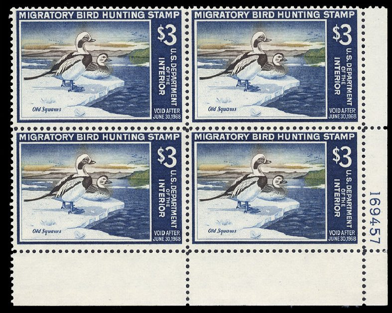 Values of US Stamps Scott RW34 - US$3.00 1967 Federal Duck Hunting. Cherrystone Auctions, Mar 2015, Sale 201503, Lot 100