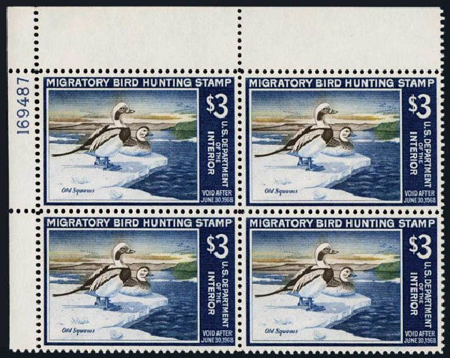 Costs of US Stamp Scott #RW34 - 1967 US$3.00 Federal Duck Hunting. Harmer-Schau Auction Galleries, Nov 2014, Sale 103, Lot 184
