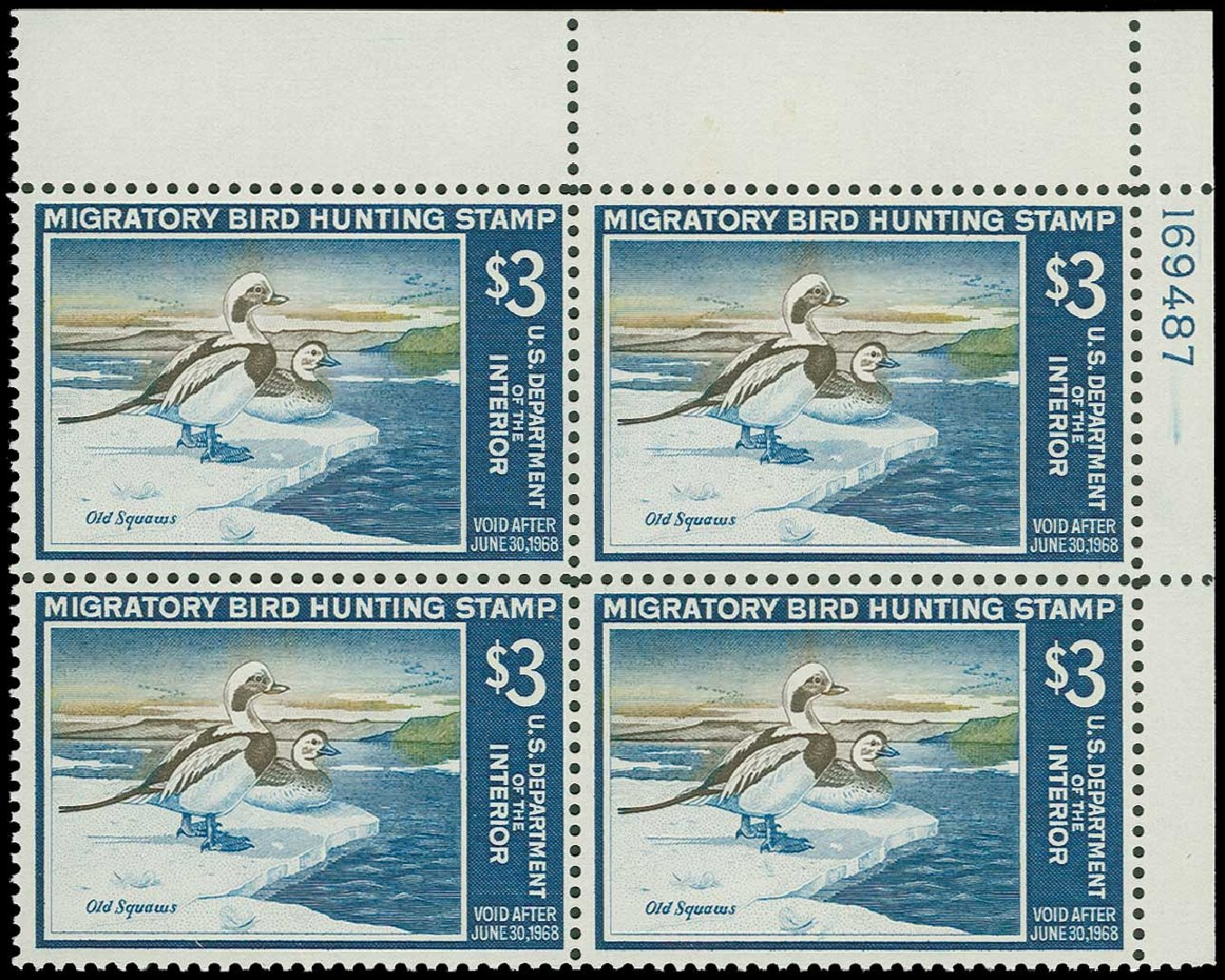 US Stamp Prices Scott Cat. # RW34: US$3.00 1967 Federal Duck Hunting. H.R. Harmer, Jun 2015, Sale 3007, Lot 3603