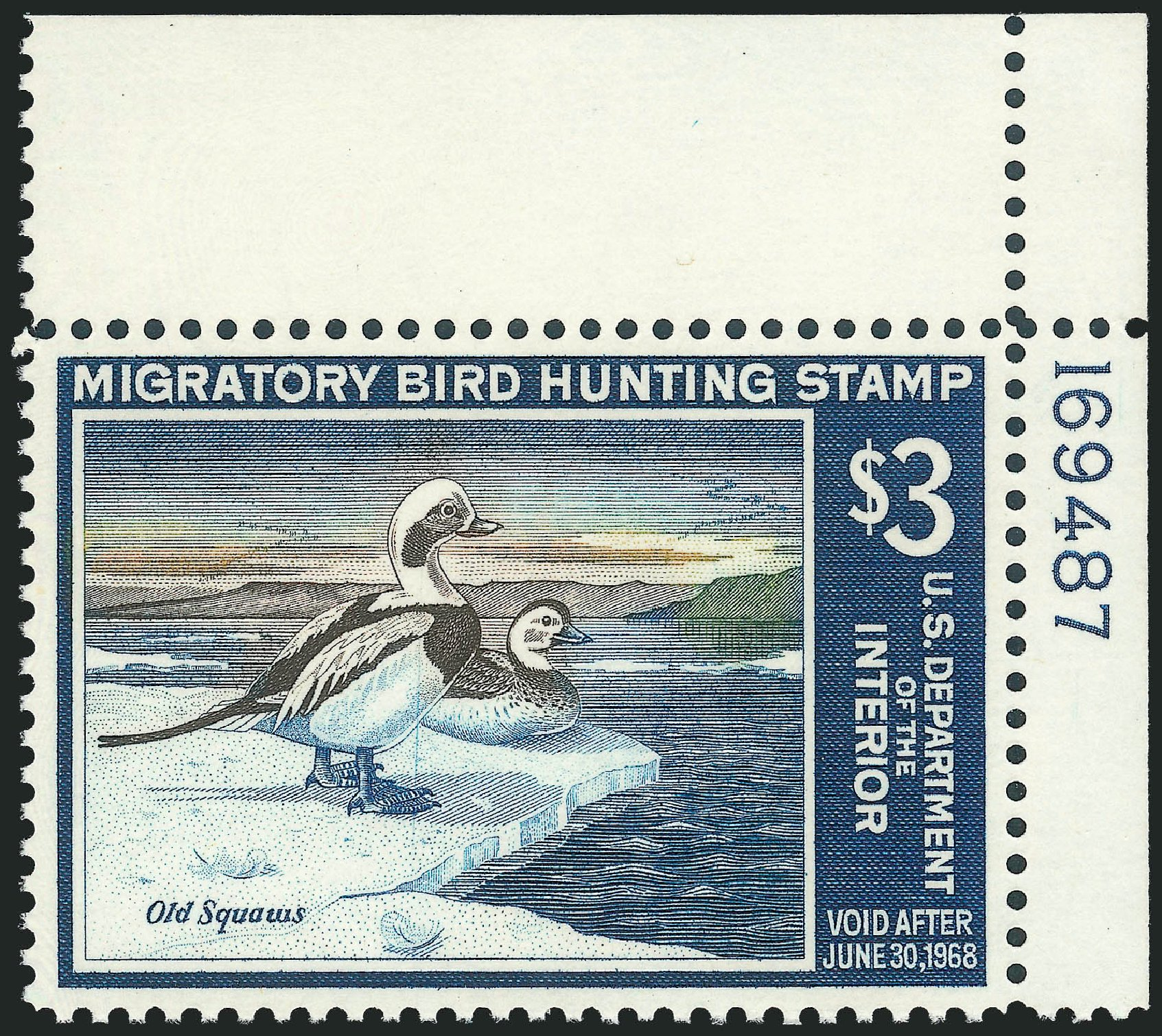 Costs of US Stamp Scott Catalog # RW34: US$3.00 1967 Federal Duck Hunting. Robert Siegel Auction Galleries, Jul 2013, Sale 1050, Lot 843