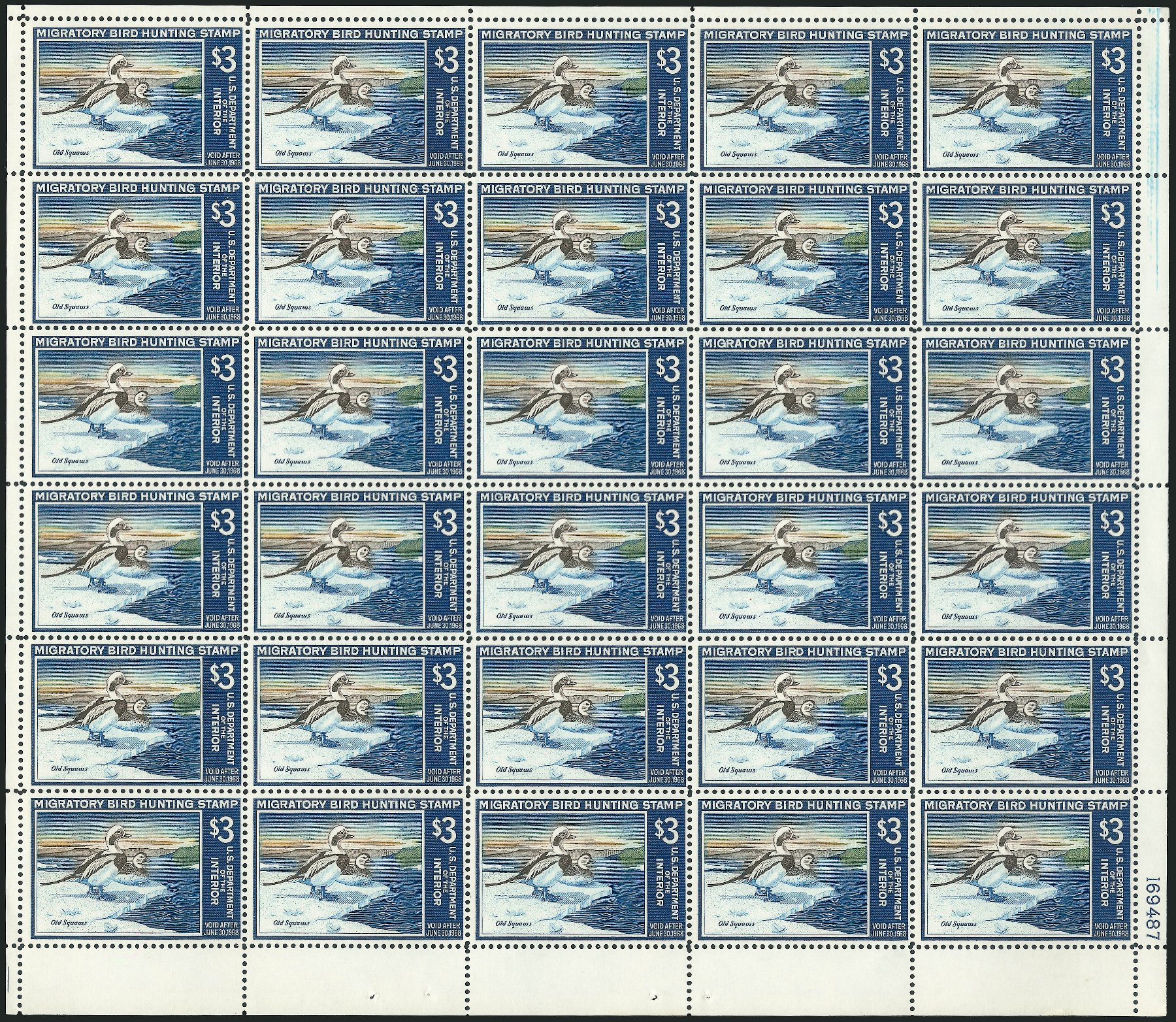 Prices of US Stamp Scott Catalogue # RW34: 1967 US$3.00 Federal Duck Hunting. Robert Siegel Auction Galleries, Feb 2015, Sale 1092, Lot 1546