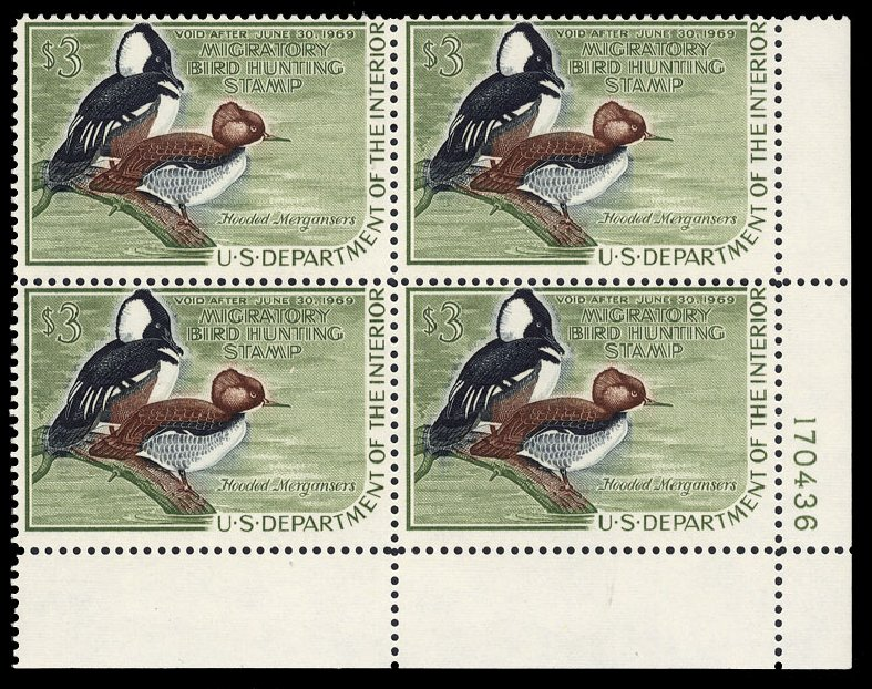 US Stamps Values Scott Catalog RW35: US$3.00 1968 Federal Duck Hunting. Cherrystone Auctions, Jun 2010, Sale 201006, Lot 57