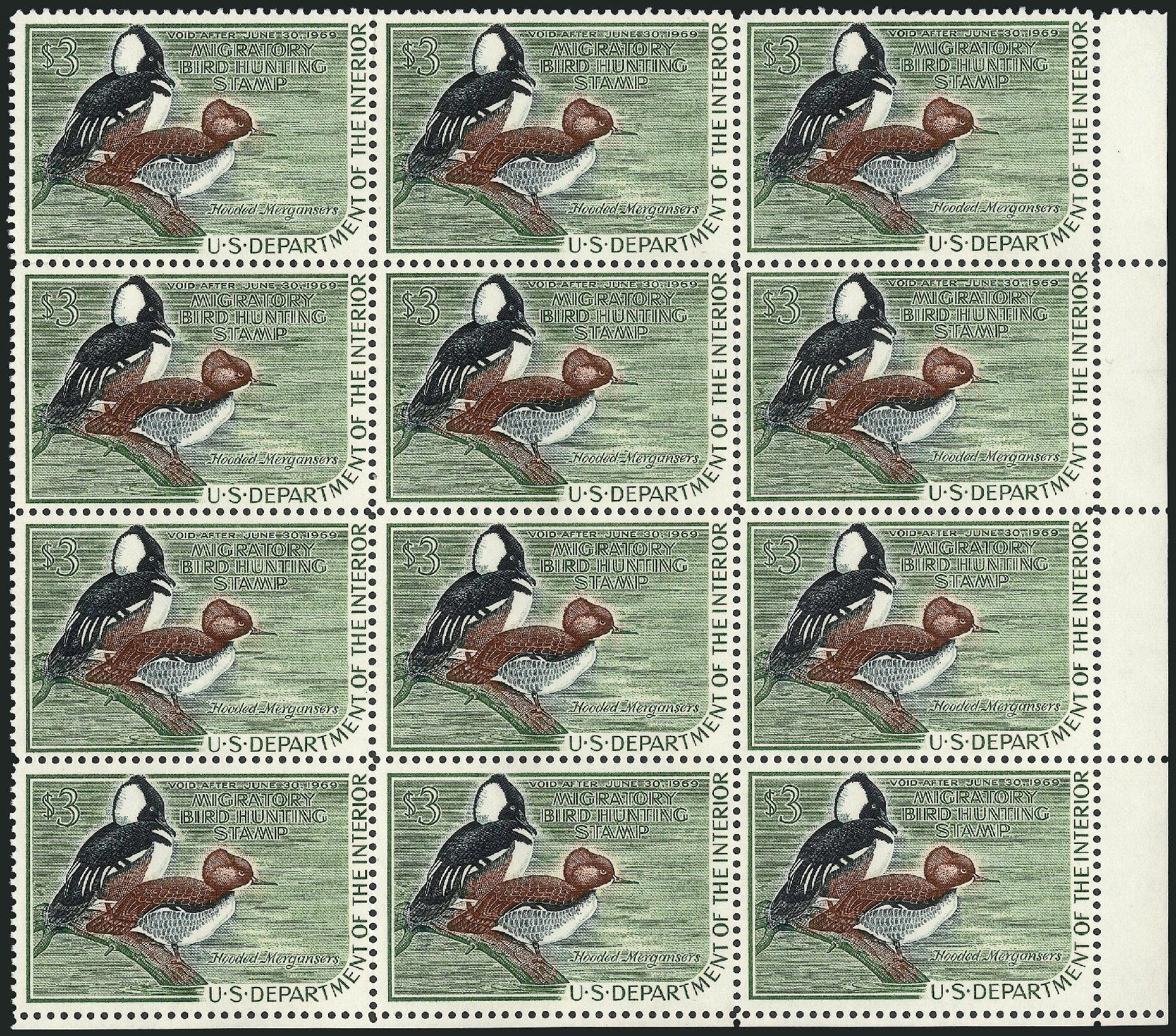 Price of US Stamps Scott Catalogue # RW35: US$3.00 1968 Federal Duck Hunting. Robert Siegel Auction Galleries, Mar 2011, Sale 1007, Lot 3195