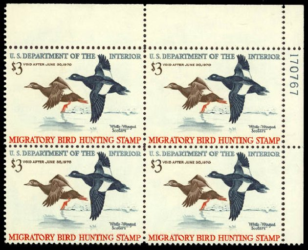US Stamps Values Scott Catalog RW36: 1969 US$3.00 Federal Duck Hunting. Daniel Kelleher Auctions, May 2014, Sale 653, Lot 2524