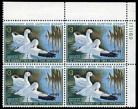 Values of US Stamp Scott Cat. RW37 - 1970 US$3.00 Federal Duck Hunting. Harmer-Schau Auction Galleries, Jun 2008, Sale 78, Lot 1828