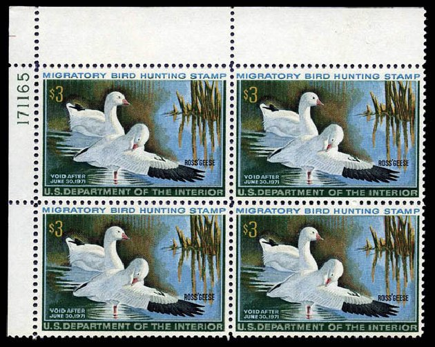 Costs of US Stamps Scott #RW37 - US$3.00 1970 Federal Duck Hunting. Harmer-Schau Auction Galleries, Aug 2014, Sale 102, Lot 2240