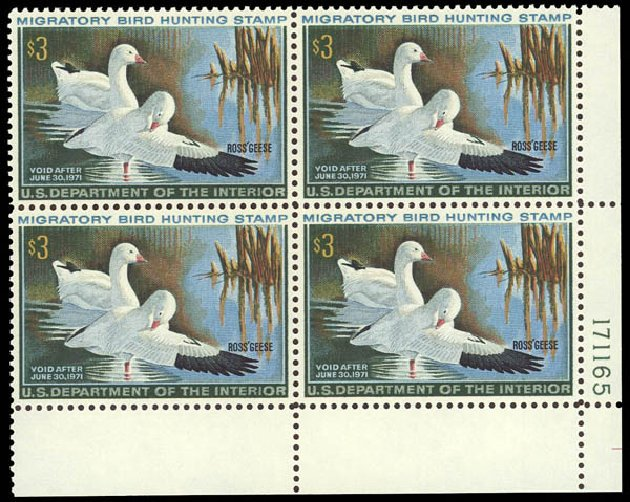 US Stamps Prices Scott #RW37: 1970 US$3.00 Federal Duck Hunting. Daniel Kelleher Auctions, Jun 2012, Sale 630, Lot 2251