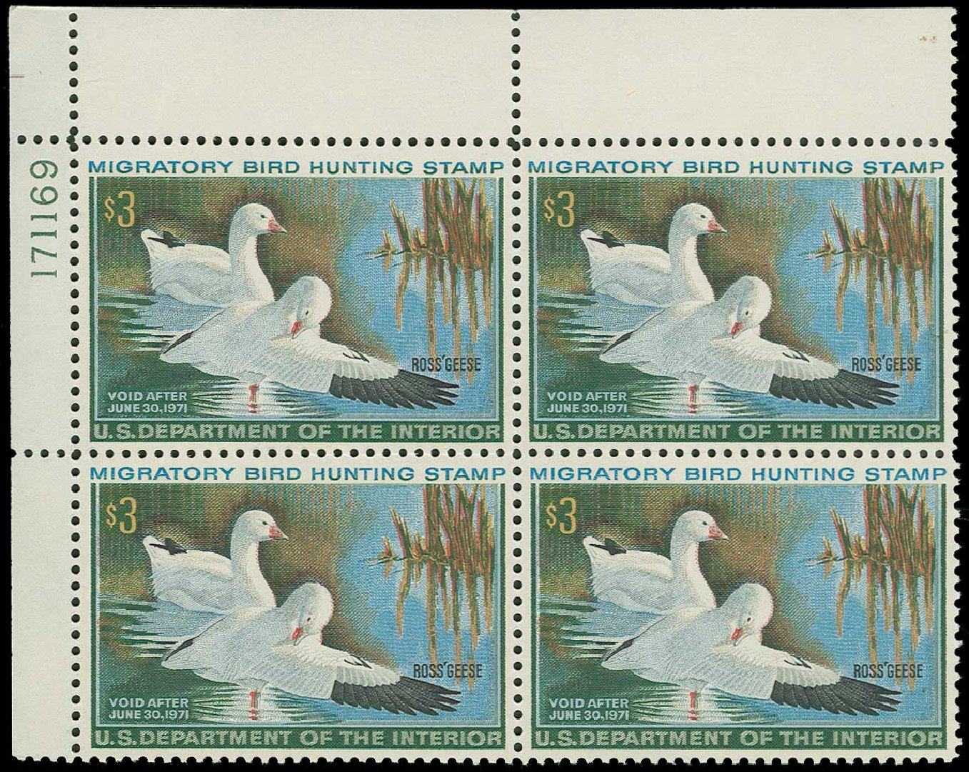 Price of US Stamps Scott Catalogue #RW37: 1970 US$3.00 Federal Duck Hunting. H.R. Harmer, Jun 2015, Sale 3007, Lot 3604