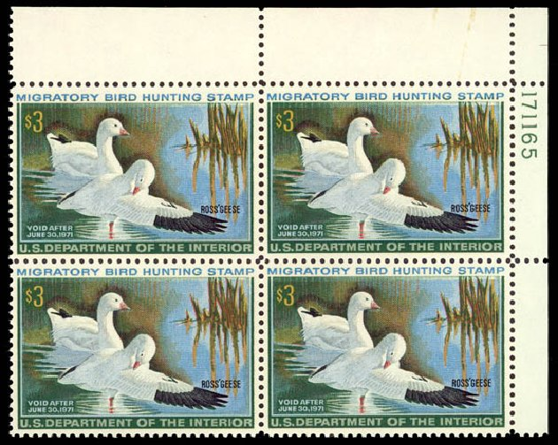 US Stamps Price Scott RW37 - US$3.00 1970 Federal Duck Hunting. Daniel Kelleher Auctions, May 2014, Sale 653, Lot 2525