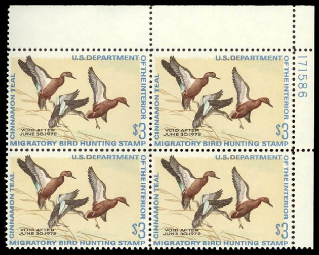 US Stamp Price Scott Catalog # RW38: 1971 US$3.00 Federal Duck Hunting. Daniel Kelleher Auctions, May 2015, Sale 669, Lot 3608