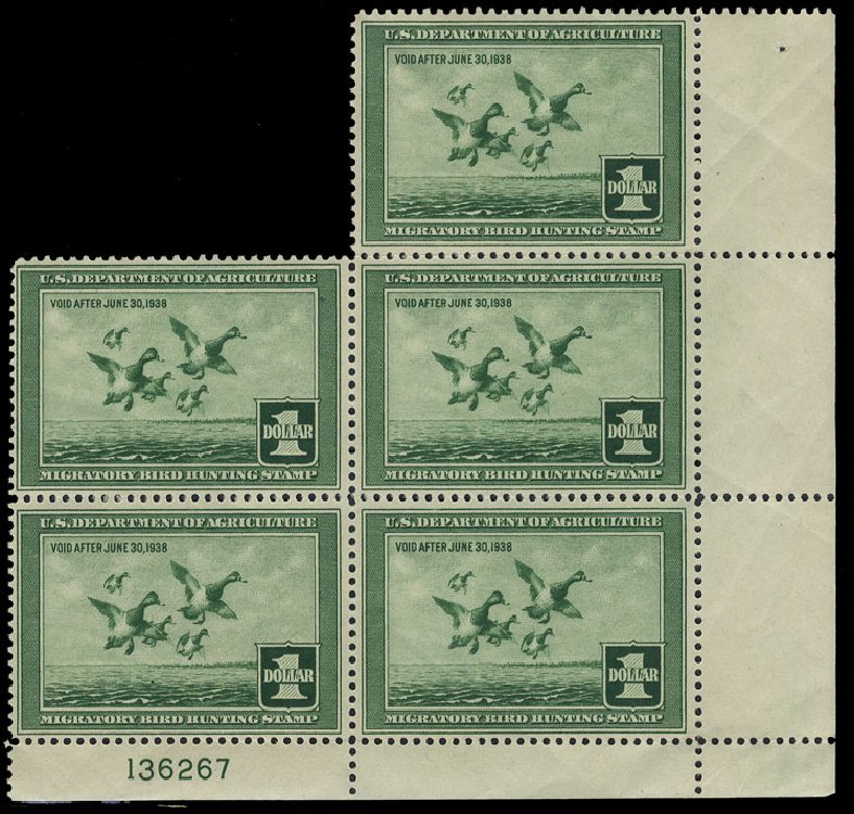 Cost of US Stamps Scott Catalog #RW4: 1937 US$1.00 Federal Duck Hunting. Cherrystone Auctions, Oct 2012, Sale 201210, Lot 207