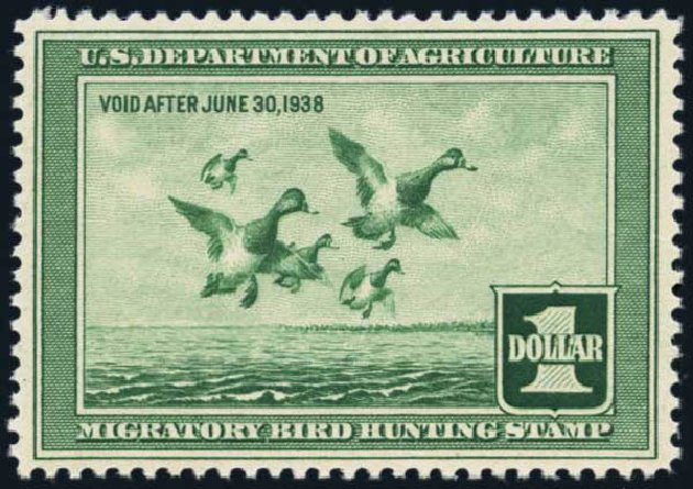 US Stamps Values Scott Cat. # RW4 - US$1.00 1937 Federal Duck Hunting. Harmer-Schau Auction Galleries, Jan 2014, Sale 100, Lot 739
