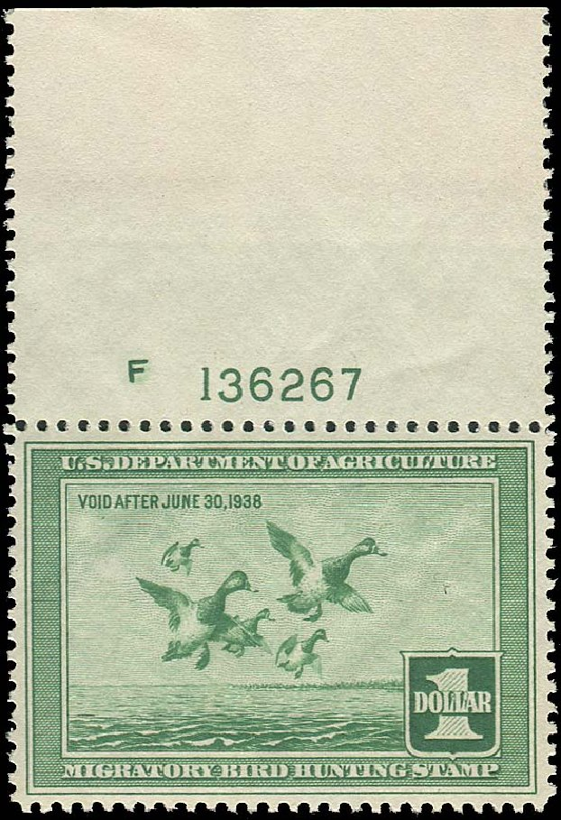 US Stamps Price Scott RW4 - 1937 US$1.00 Federal Duck Hunting. Regency-Superior, Aug 2015, Sale 112, Lot 1640