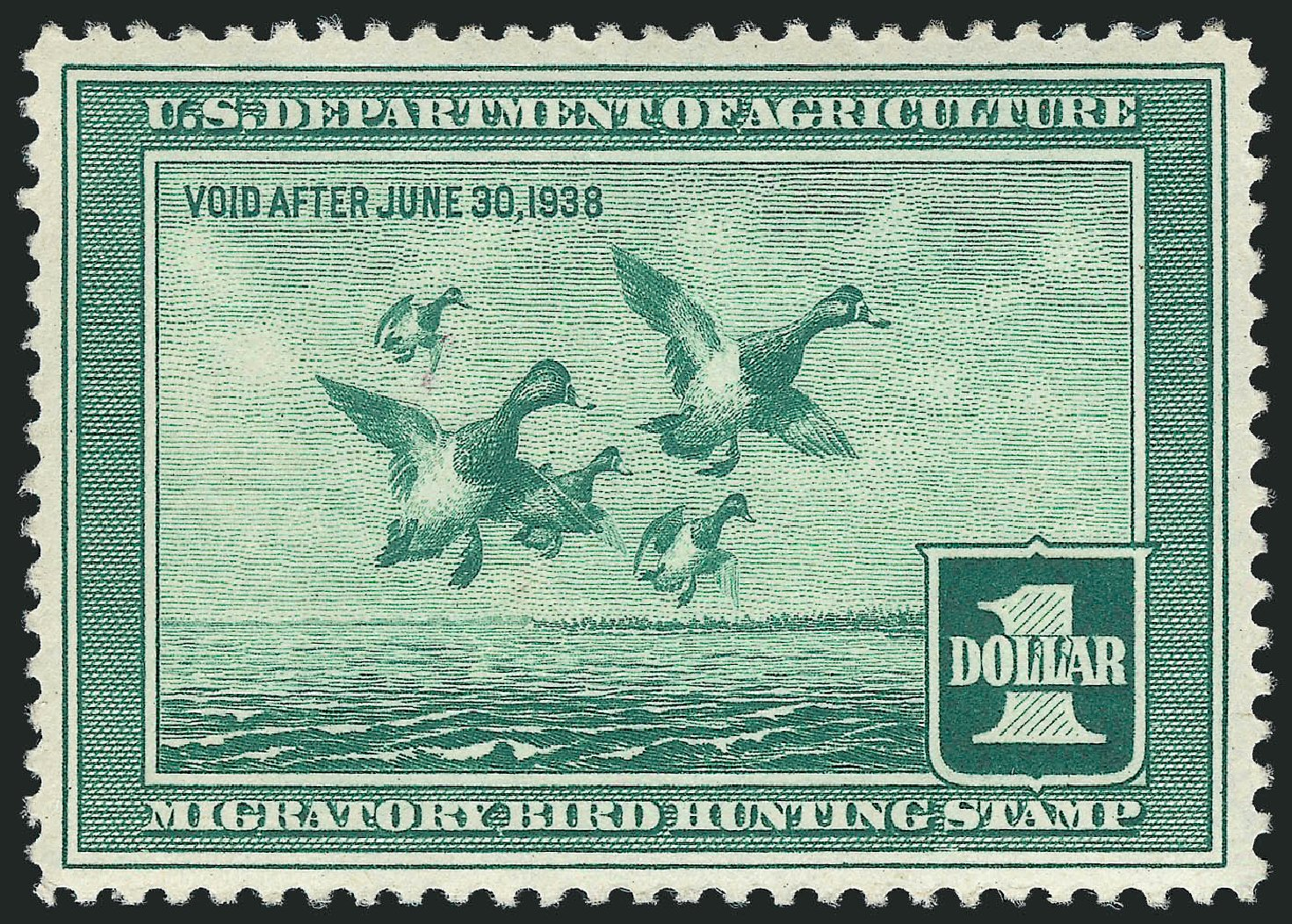 Price of US Stamp Scott Catalogue # RW4 - 1937 US$1.00 Federal Duck Hunting. Robert Siegel Auction Galleries, May 2013, Sale 1044, Lot 341