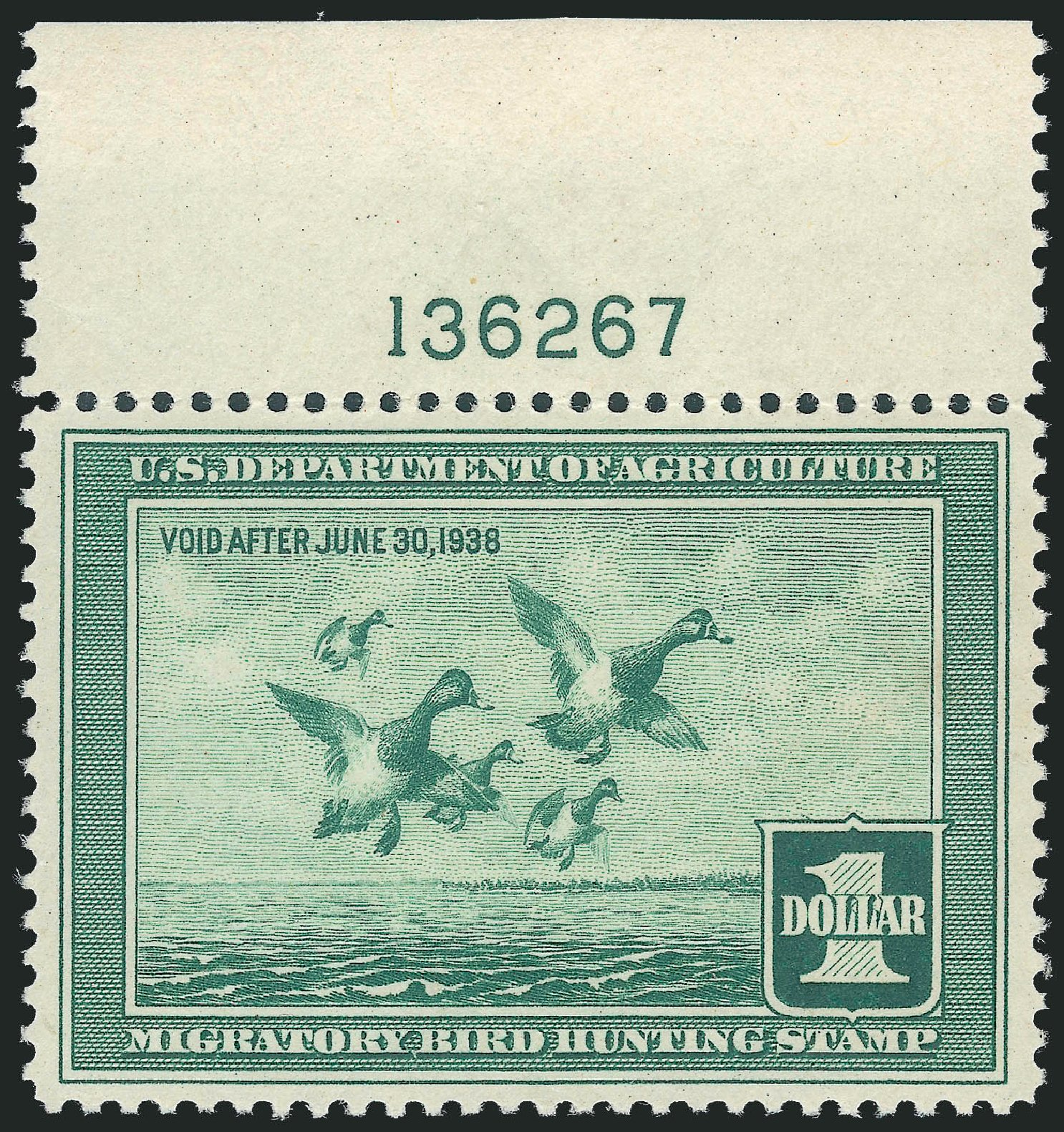 Values of US Stamp Scott # RW4: US$1.00 1937 Federal Duck Hunting. Robert Siegel Auction Galleries, Jul 2013, Sale 1050, Lot 841