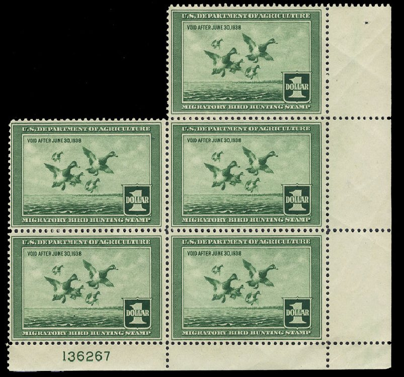 Costs of US Stamp Scott #RW4 - US$1.00 1937 Federal Duck Hunting. Cherrystone Auctions, Jan 2015, Sale 201501, Lot 225