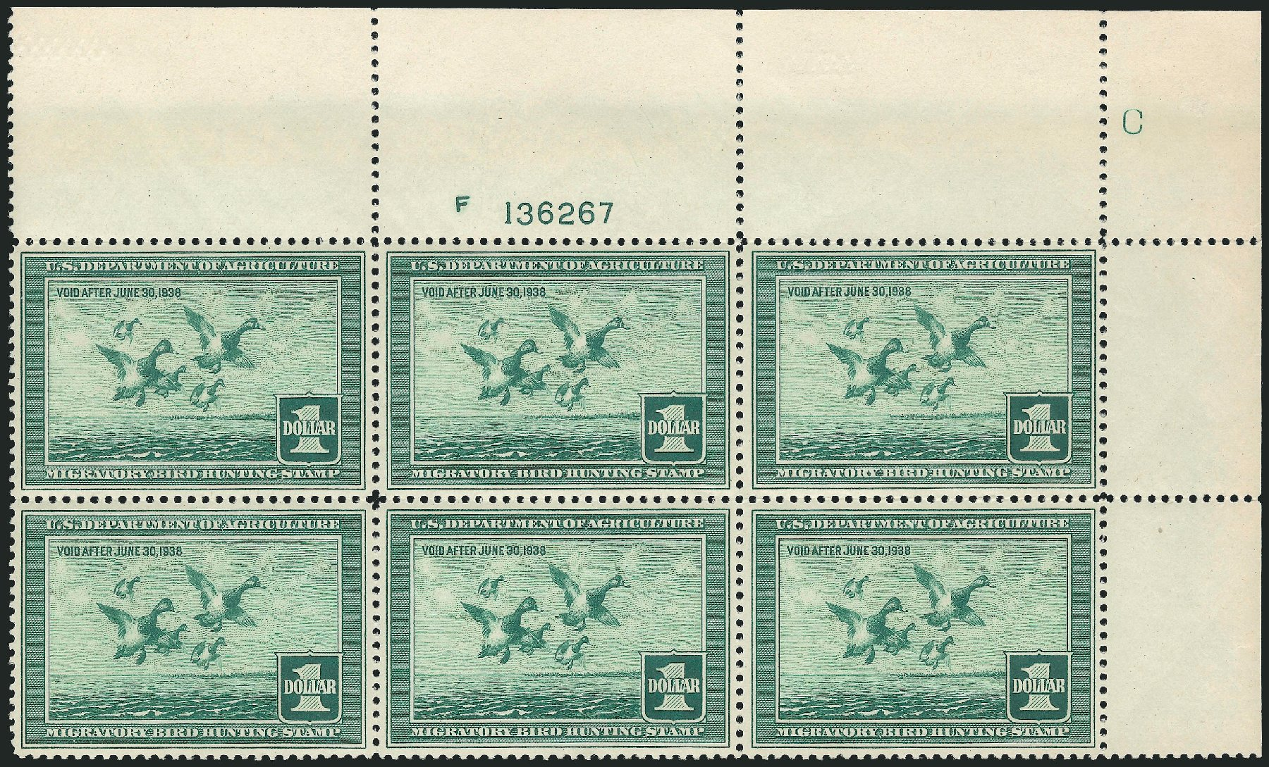 Costs of US Stamp Scott RW4: US$1.00 1937 Federal Duck Hunting. Robert Siegel Auction Galleries, Apr 2015, Sale 1096, Lot 1035