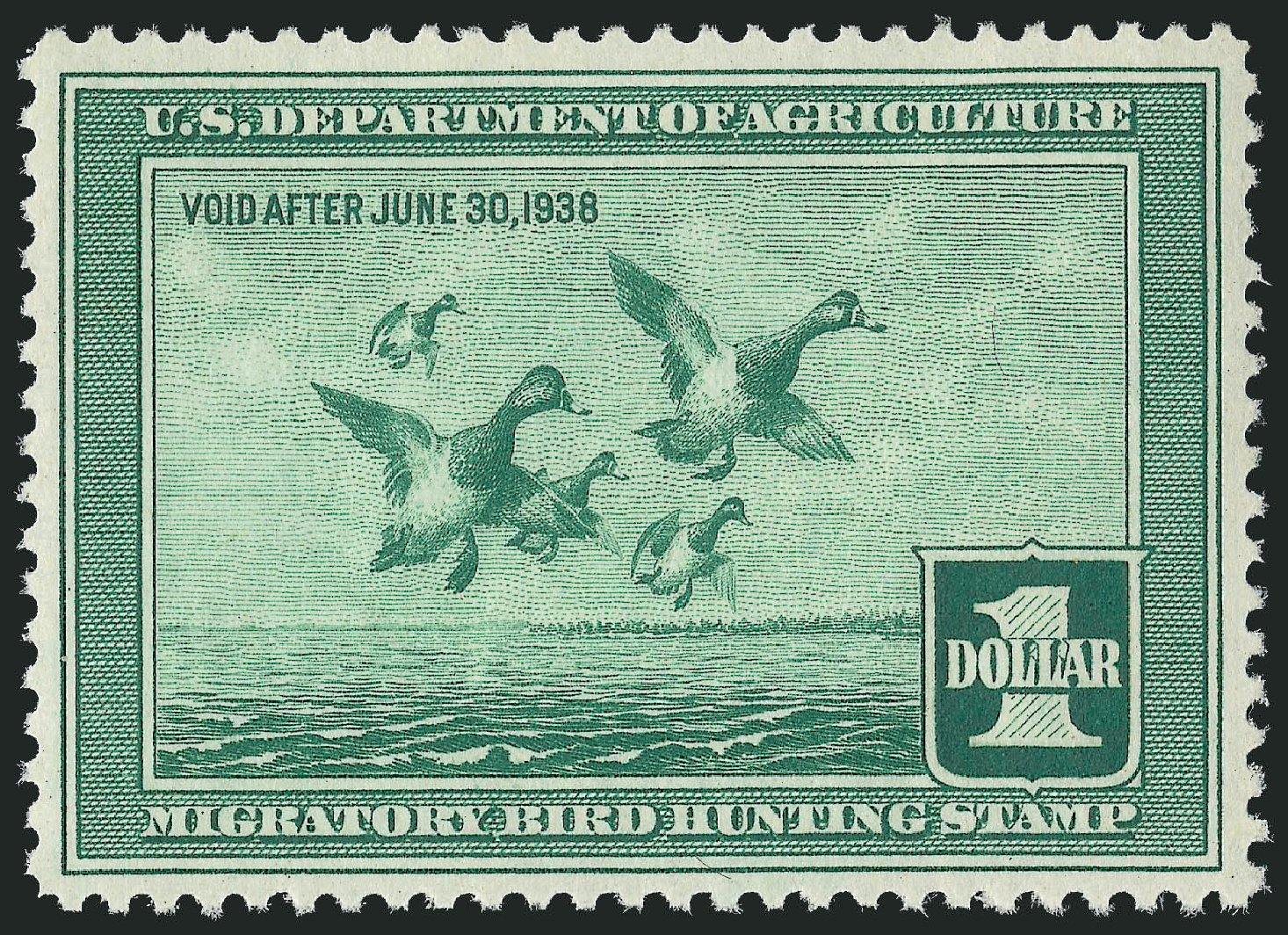 Prices of US Stamp Scott Catalog # RW4 - 1937 US$1.00 Federal Duck Hunting. Robert Siegel Auction Galleries, Mar 2013, Sale 1040, Lot 2242