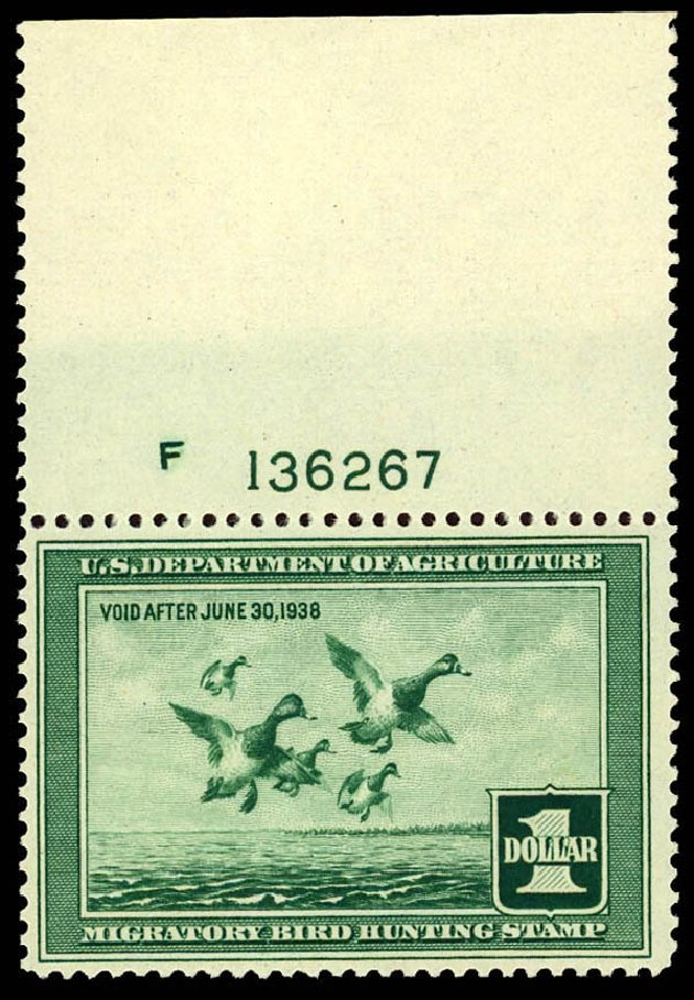 US Stamps Values Scott Catalog # RW4 - US$1.00 1937 Federal Duck Hunting. Daniel Kelleher Auctions, Apr 2013, Sale 636, Lot 723