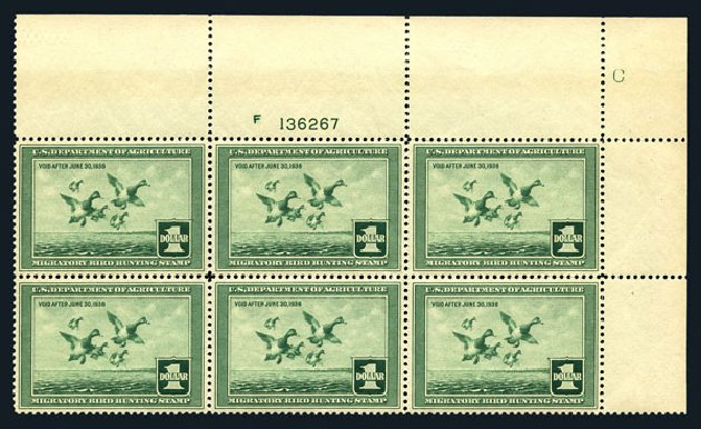 US Stamps Price Scott Cat. # RW4: 1937 US$1.00 Federal Duck Hunting. Harmer-Schau Auction Galleries, Aug 2015, Sale 106, Lot 2236