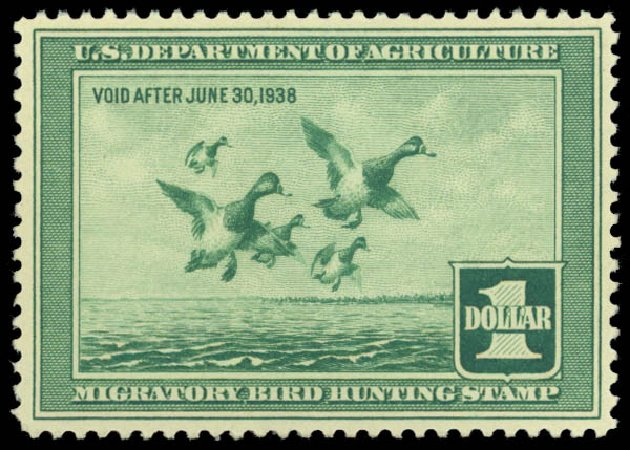 US Stamp Price Scott Catalog # RW4: 1937 US$1.00 Federal Duck Hunting. Daniel Kelleher Auctions, Dec 2014, Sale 661, Lot 486