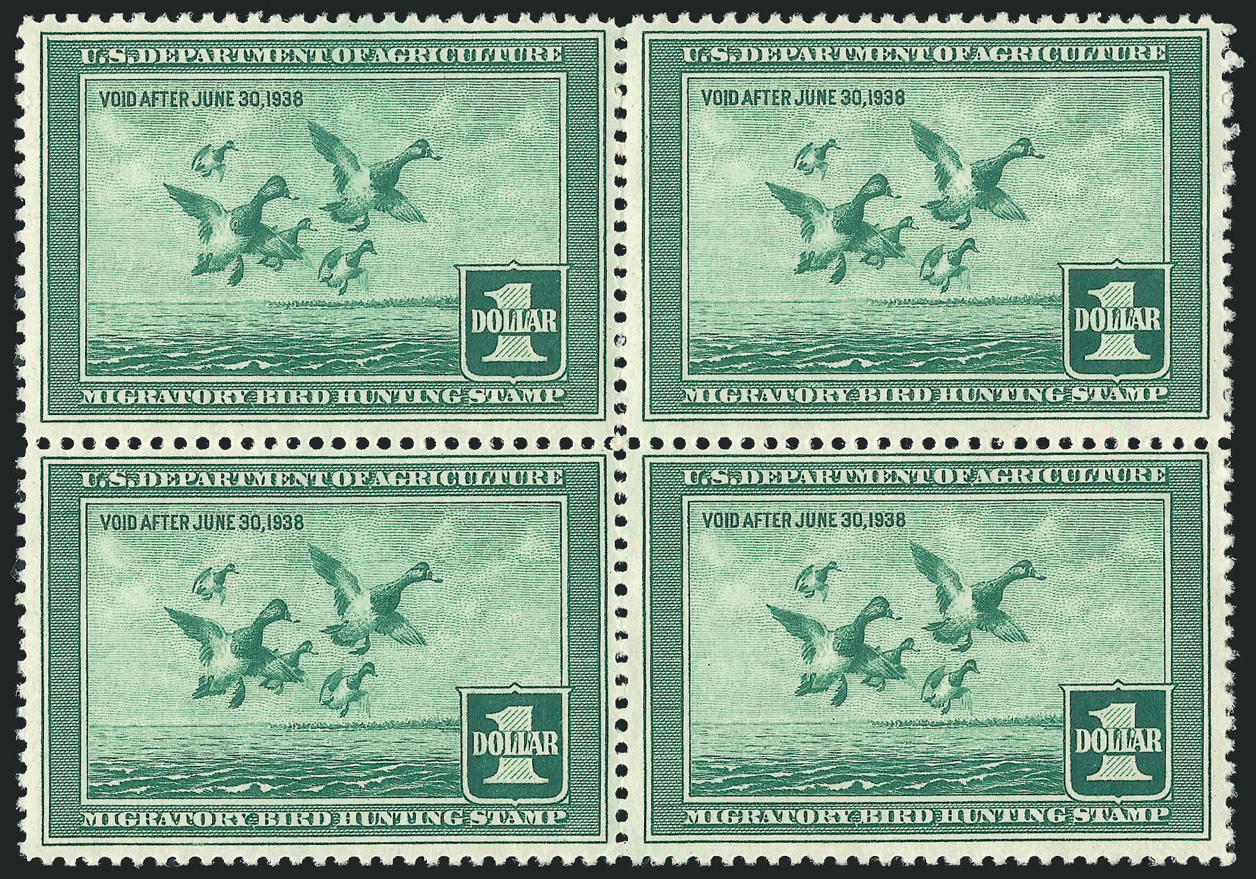 US Stamp Prices Scott Catalogue RW4 - 1937 US$1.00 Federal Duck Hunting. Robert Siegel Auction Galleries, Nov 2013, Sale 1061, Lot 4516