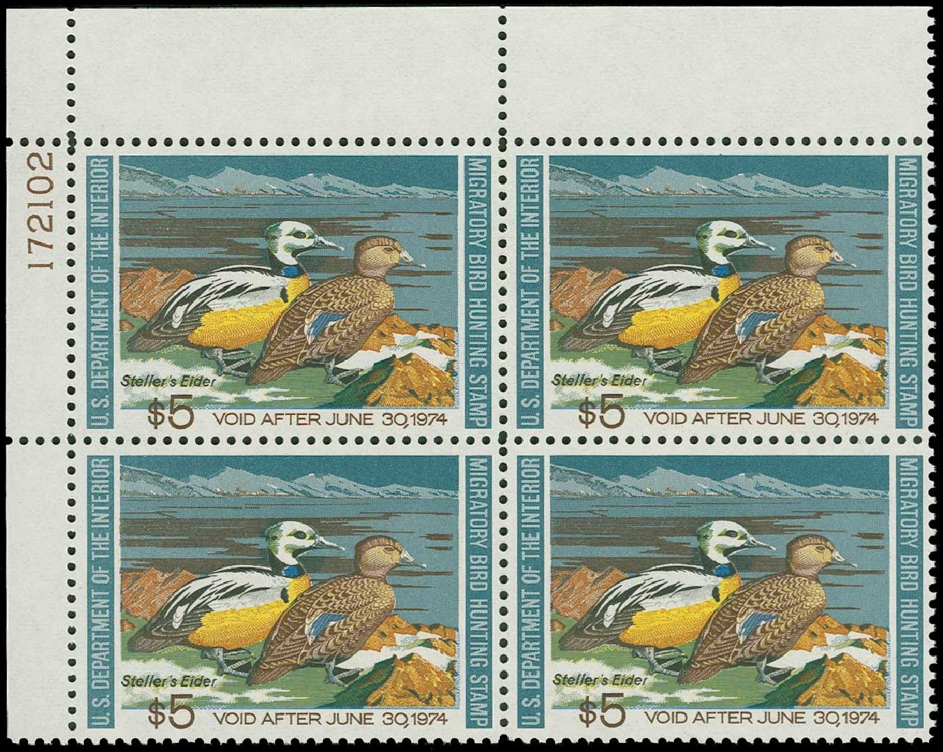 Price of US Stamps Scott Cat. RW40 - US$5.00 1973 Federal Duck Hunting. H.R. Harmer, Jun 2015, Sale 3007, Lot 3605