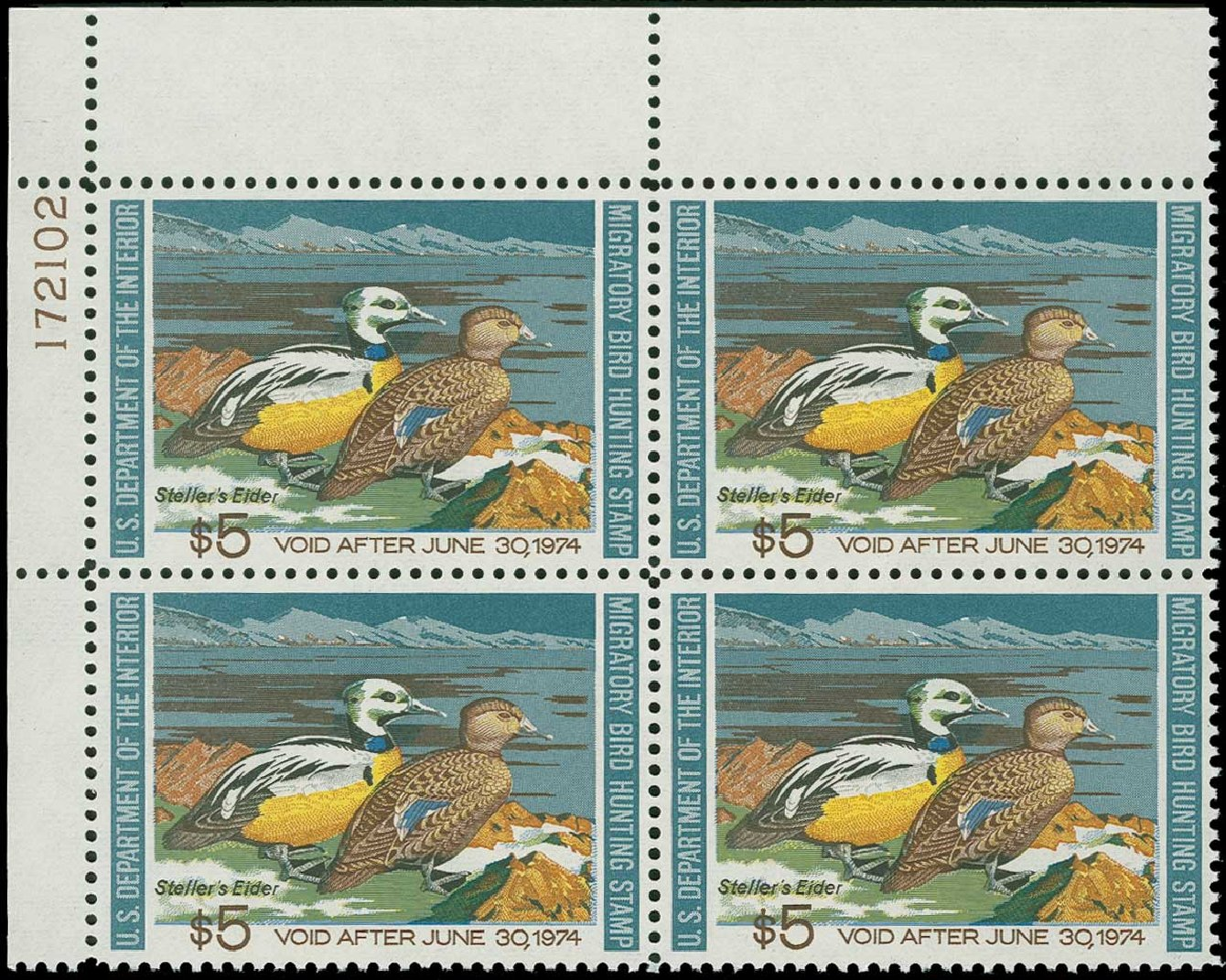 Cost of US Stamps Scott Cat. #RW40 - 1973 US$5.00 Federal Duck Hunting. H.R. Harmer, Jun 2015, Sale 3007, Lot 3606