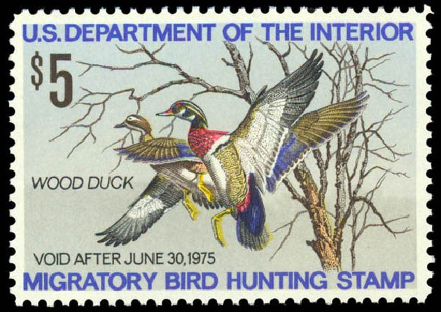 Costs of US Stamps Scott RW41: US$5.00 1974 Federal Duck Hunting. Daniel Kelleher Auctions, May 2014, Sale 653, Lot 2372