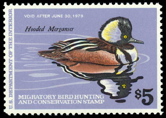 US Stamp Values Scott Catalog #RW45: US$5.00 1978 Federal Duck Hunting. Daniel Kelleher Auctions, May 2014, Sale 653, Lot 2375
