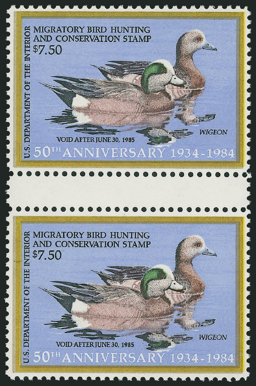 Value of US Stamp Scott # RW51: 1984 US$7.50 Federal Duck Hunting. Robert Siegel Auction Galleries, Oct 2010, Sale 997, Lot 6647