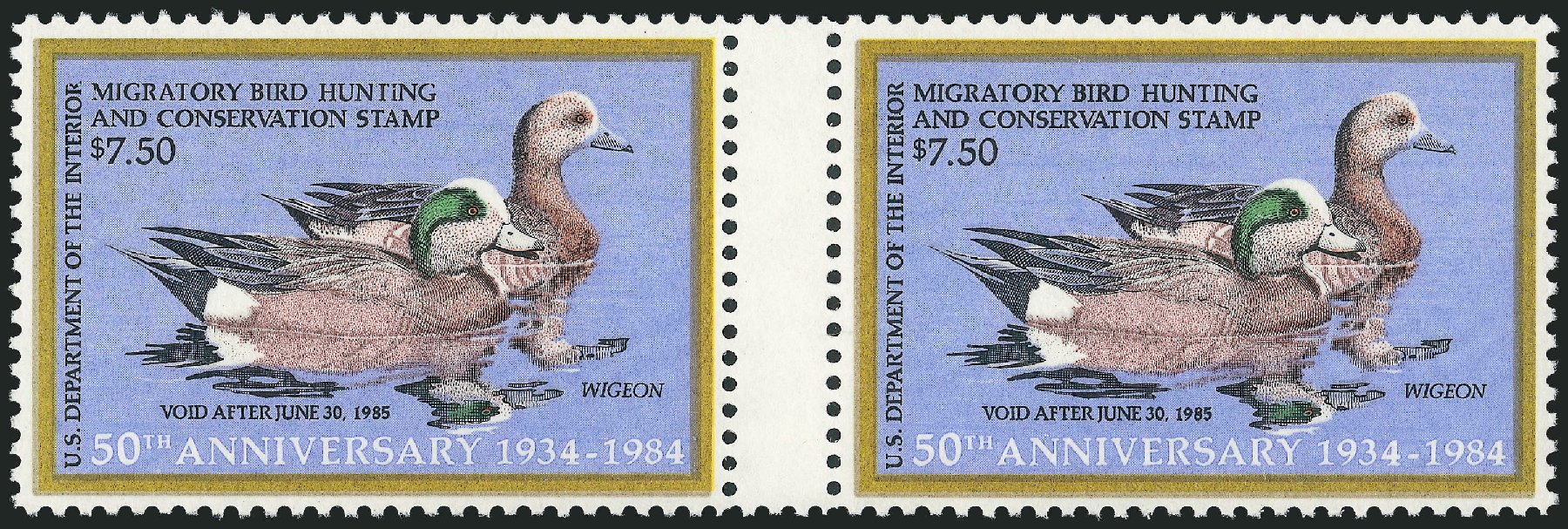 Values of US Stamp Scott Catalogue #RW51: 1984 US$7.50 Federal Duck Hunting. Robert Siegel Auction Galleries, Mar 2011, Sale 1007, Lot 3200