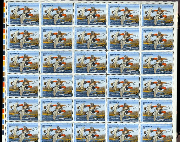 US Stamp Price Scott #RW54 - 1987 US$10.00 Federal Duck Hunting. Daniel Kelleher Auctions, May 2014, Sale 652, Lot 1011