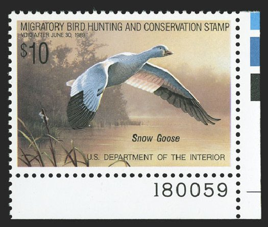 Value of US Stamp Scott RW55 - 1988 US$10.00 Federal Duck Hunting. Spink Shreves Galleries, Nov 2012, Sale 141, Lot 243