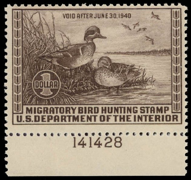 Values of US Stamps Scott Catalogue RW6 - 1939 US$1.00 Federal Duck Hunting. Daniel Kelleher Auctions, May 2015, Sale 669, Lot 3577