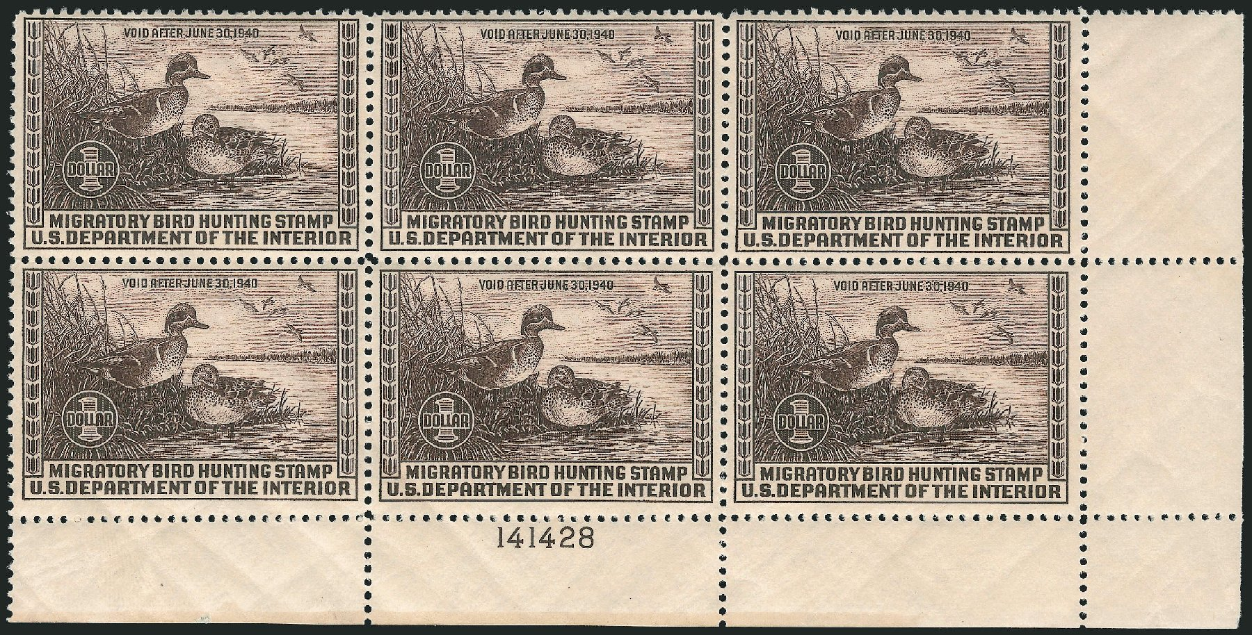 Costs of US Stamp Scott RW6: US$1.00 1939 Federal Duck Hunting. Robert Siegel Auction Galleries, Apr 2015, Sale 1096, Lot 1037