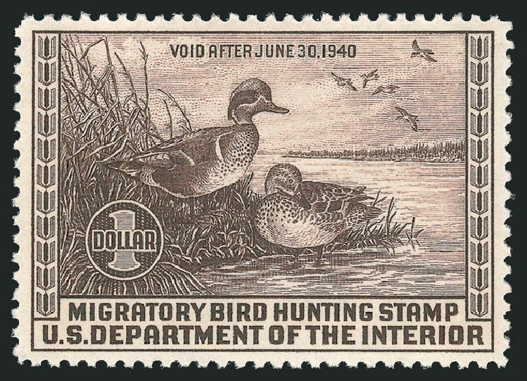 Value of US Stamp Scott Cat. RW6: US$1.00 1939 Federal Duck Hunting. Robert Siegel Auction Galleries, Dec 2009, Sale 978, Lot 1188