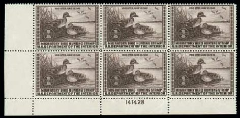 US Stamps Prices Scott Catalogue # RW6: US$1.00 1939 Federal Duck Hunting. Matthew Bennett International, Dec 2007, Sale 325, Lot 2709