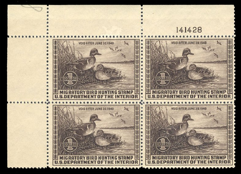 US Stamp Price Scott # RW6 - US$1.00 1939 Federal Duck Hunting. Cherrystone Auctions, Jun 2010, Sale 201006, Lot 49