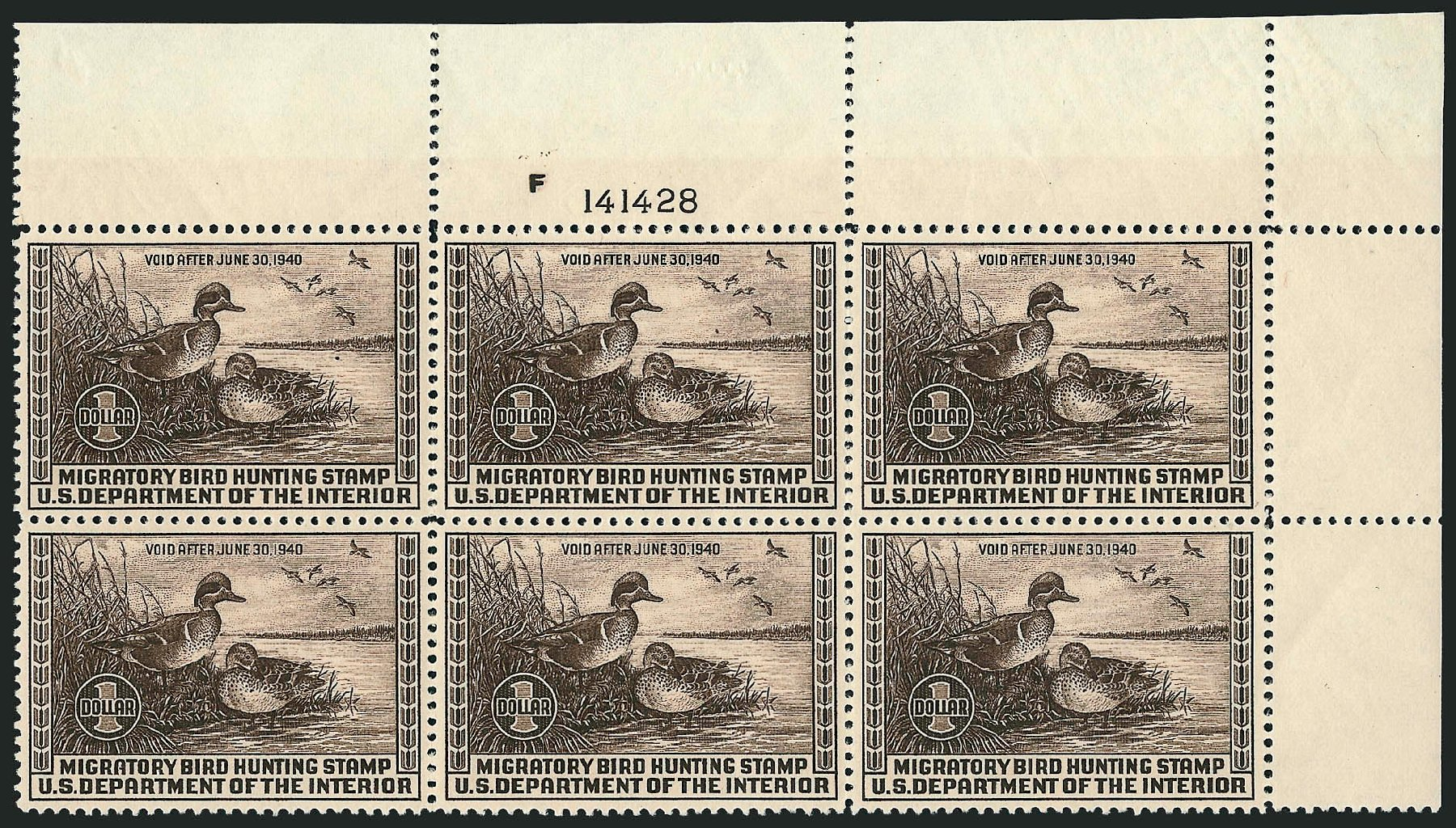 Costs of US Stamp Scott Cat. RW6 - 1939 US$1.00 Federal Duck Hunting. Robert Siegel Auction Galleries, Sep 2008, Sale 962, Lot 3070