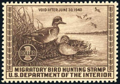US Stamps Values Scott Catalog #RW6: US$1.00 1939 Federal Duck Hunting. Harmer-Schau Auction Galleries, Aug 2011, Sale 90, Lot 2041