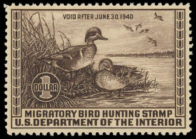US Stamps Value Scott # RW6: US$1.00 1939 Federal Duck Hunting. Daniel Kelleher Auctions, Aug 2012, Sale 631, Lot 1861