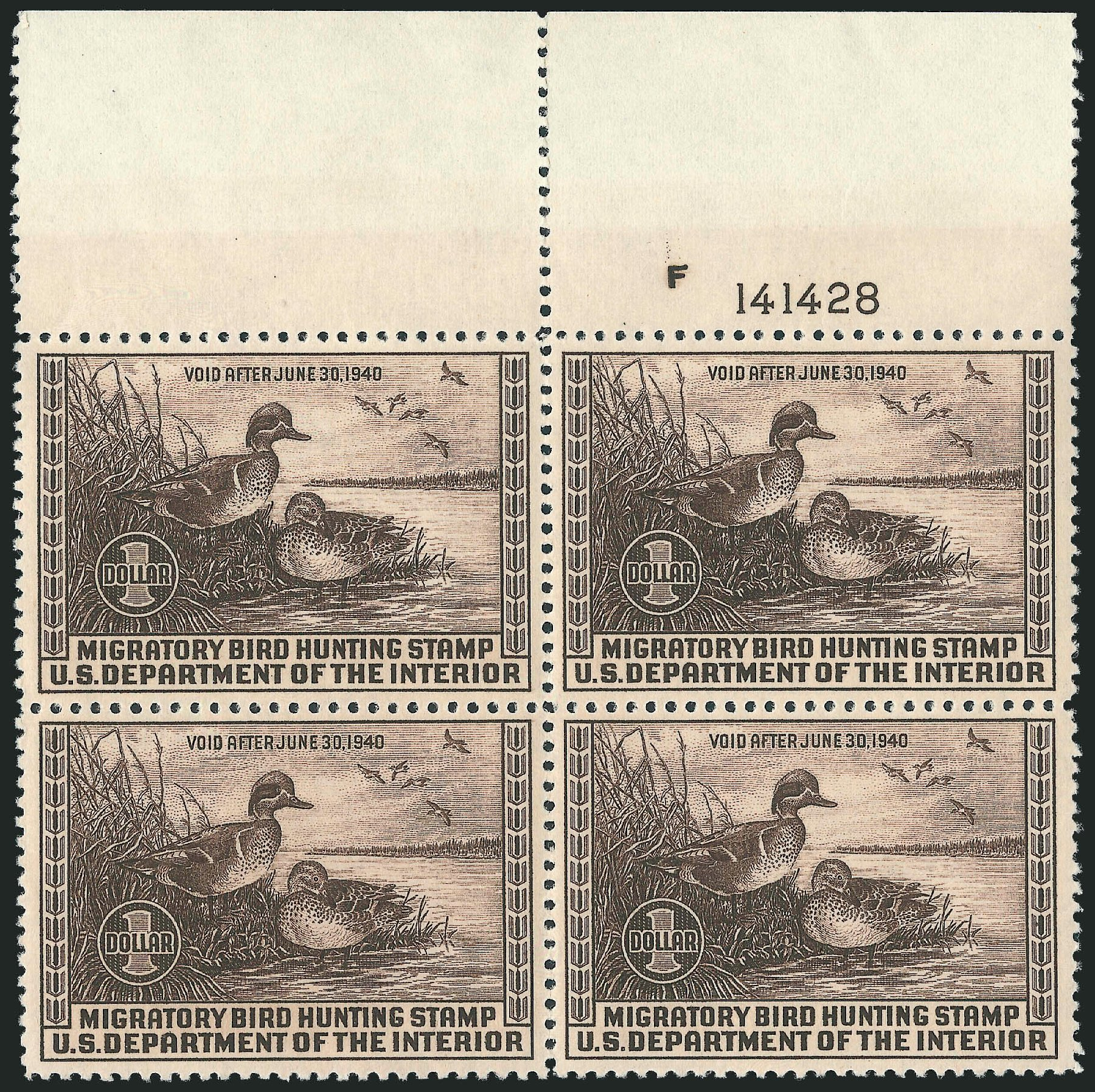 Value of US Stamps Scott Catalog RW6: US$1.00 1939 Federal Duck Hunting. Robert Siegel Auction Galleries, Oct 2011, Sale 1014, Lot 2491