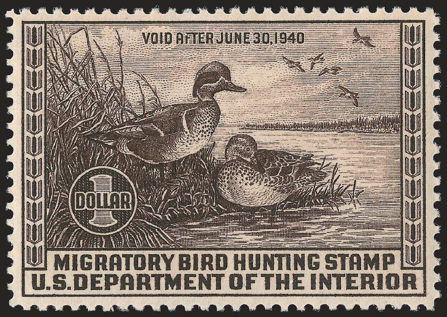 US Stamp Prices Scott RW6 - US$1.00 1939 Federal Duck Hunting. Robert Siegel Auction Galleries, Apr 2010, Sale 984, Lot 1224