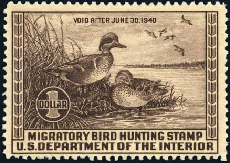 US Stamps Value Scott Cat. RW6: US$1.00 1939 Federal Duck Hunting. Harmer-Schau Auction Galleries, Mar 2011, Sale 89, Lot 455