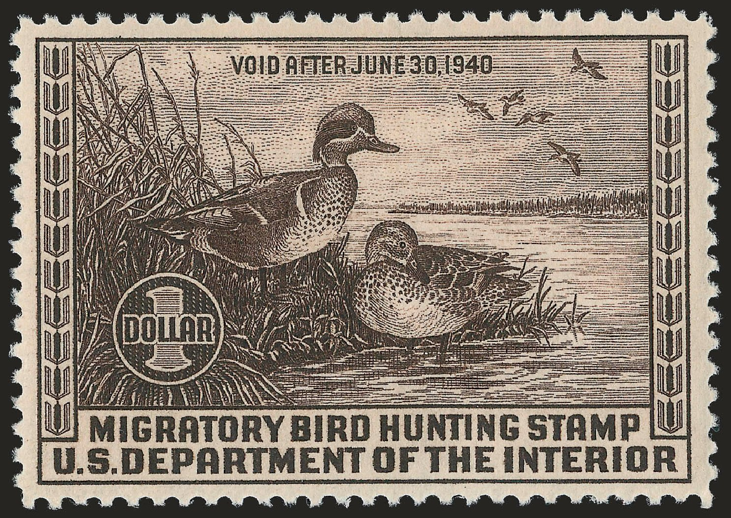 Costs of US Stamps Scott # RW6: US$1.00 1939 Federal Duck Hunting. Robert Siegel Auction Galleries, Apr 2010, Sale 984, Lot 1225